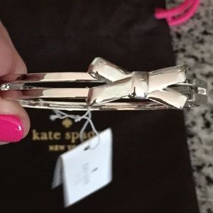 Kate Spade Double Bow Hinge Bangle Silver Tone